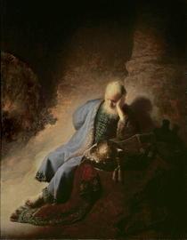 Jeremias trauert über die Zerstörung von Jerusalem von Rembrandt Harmenszoon van Rijn
