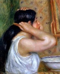 Mädchen das sich kämmt by Pierre-Auguste Renoir