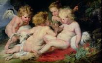 Jesuskind mit Johannes dem Täufer und zwei Engeln by Peter Paul Rubens