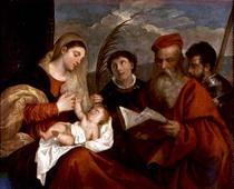 Madonna und Kind mit SS. Stephen von Tiziano Vecellio
