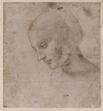 Kopf einer jungen Frau oder Leiter der Virgin von Leonardo Da Vinci