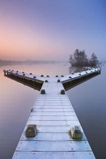 Jetty on a still lake on a foggy winter's morning von Sara Winter