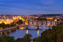 Bridges over the Vltava River, Prague, Czech Republic at night von Sara Winter