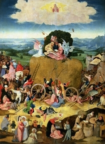 The Haywain: central panel of the triptych von Hieronymus Bosch