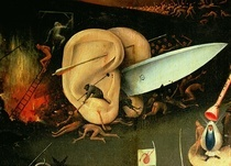 The Garden of Earthly Delights: Hell, right wing of triptych, de von Hieronymus Bosch