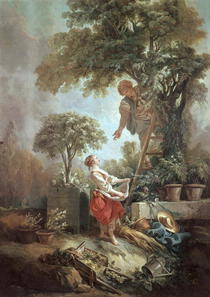 Landscape with figures gathering cherries by Francois Boucher