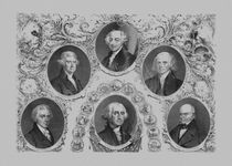 614-first-five-united-states-presidents-vintage-print