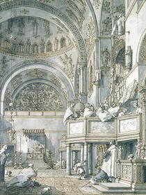The Choir Singing in St. Mark`s Basilica, Venice, 1766  by Giovanni Antonio Canal Canaletto