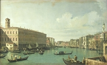 The Grand Canal from the Rialto Bridge  by Giovanni Antonio Canal Canaletto