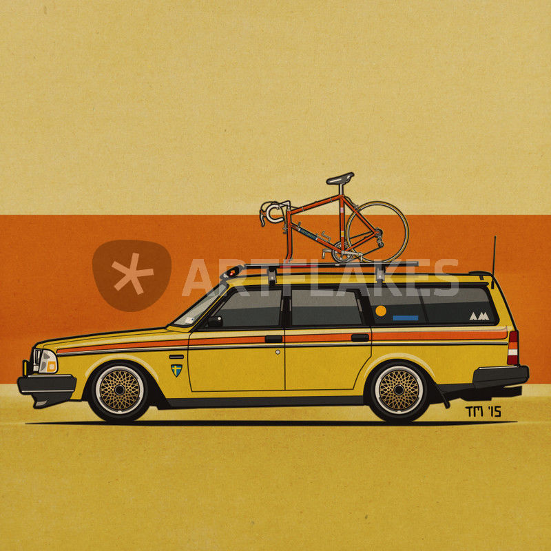 Yellow Volvo 245 Wagon With Bike Square Graphic