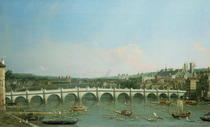 Westminster Bridge from the North with Lambeth Palace in distanc von Giovanni Antonio Canal Canaletto