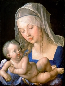 Virgin and child holding a half-eaten pear von Albrecht Dürer