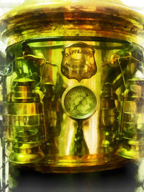 Fire Fighters - Gauge and Two Brass Lanterns on Fire Truck by Susan Savad