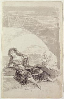Maja and Celestina under an arch  von Francisco Jose de Goya y Lucientes