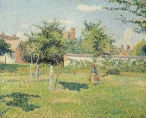 Woman in the Meadow at Eragny, Spring von Camille Pissarro