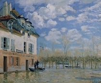 The Boat in the Flood, Port-Marly von Alfred Sisley