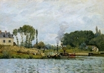 Boats at the lock at Bougival by Alfred Sisley