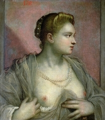 Portrait of a Woman Revealing her Breasts von Jacopo Robusti Tintoretto