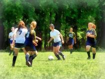 Girls Playing Soccer by Susan Savad