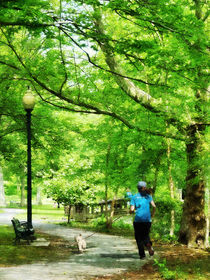 Girl Jogging with Dog by Susan Savad