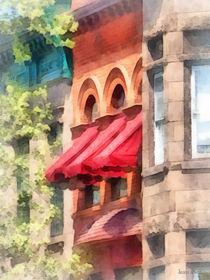 Hoboken NJ - Red Awnings on Brownstone by Susan Savad