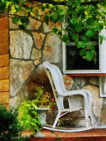 Wicker Rocking Chair on Porch by Susan Savad