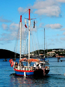 Caribbean - Red White and Blue Boat at St Thomas von Susan Savad