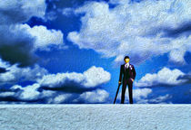 Business Man Miniature Toy Model and Cloudy Sky Oil Painting von John Williams