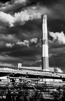 Huge Industrial Chimney and Smoke in Black and White by John Williams