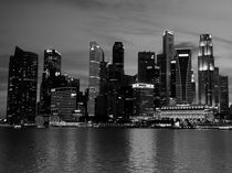 Singapore Skyline  BW by James Menges
