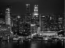Singapore Skyline Waterfront BW by James Menges
