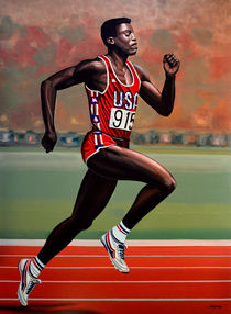 Carl Lewis painting by Paul Meijering