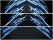 Light painting Triptych Horizontal Print Photograph 3 by John Williams
