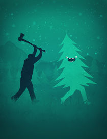 Funny Christmas Tree Hunted by lumberjack (Funny Humor) by badbugsart