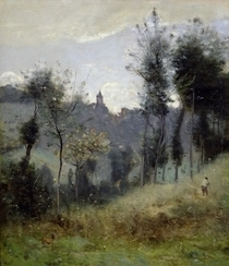 Canteleu near Rouen  by Jean Baptiste Camille Corot