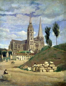 Chartres Cathedral by Jean Baptiste Camille Corot