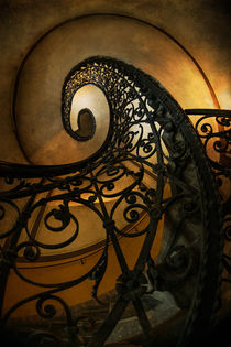 Spiral staircase in brown and green tones by Jarek Blaminsky