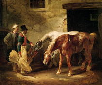 Two Post Horses at the Door of a Stable  by Theodore Gericault