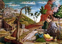 The Agony in the Garden, left hand predella panel from the Altar by Andrea Mantegna