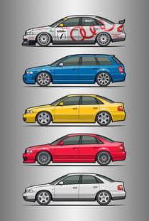 Stack of Audi A4 B5 Type 8d by monkeycrisisonmars