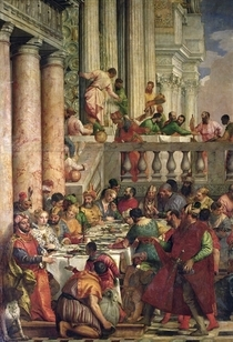 The Marriage Feast at Cana, detail of the left hand side von Paolo Veronese