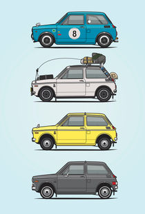 Stack Of Vintage Honda N360 N600 Kei Cars by monkeycrisisonmars