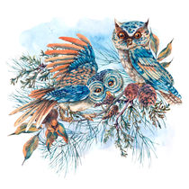 Watercolor Illustration with owls von Varvara Kurakina