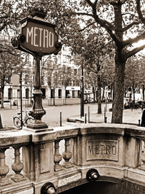 Le Metro de Paris - Classic station at Champs Elysees Avenue with stylish sign by Carlos Alkmin