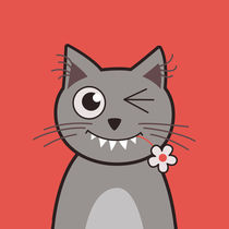 Funny Winking Cartoon Kitty Cat von Boriana Giormova