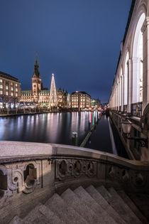 Hamburg Weihnachtsmarkt Rathaus mit Alsterarkaden von elbvue