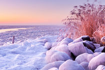Frozen lake Markermeer, The Netherlands at sunrise von Sara Winter