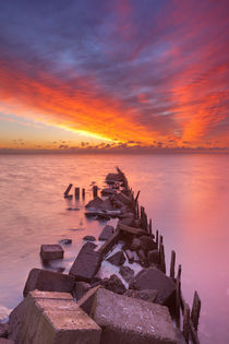 Sunrise over sea on the island of Texel, The Netherlands by Sara Winter