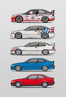 Stack of BMW 3 Series E36 Coupes by monkeycrisisonmars