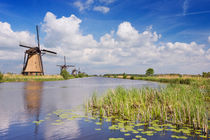 Traditional Dutch windmills on a sunny day at the Kinderdijk by Sara Winter